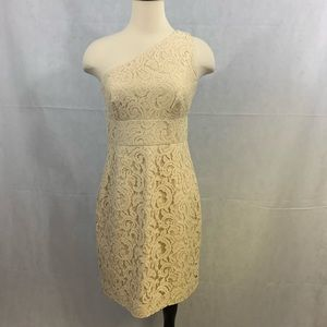 J.Crew 1 shoulder cream lace overlay dress size 4